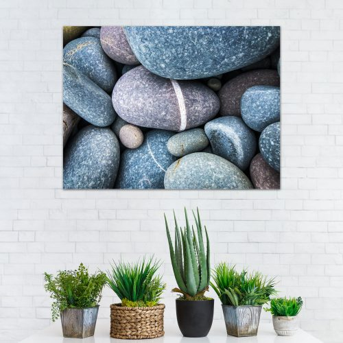 blue stone pebbles beach wall art