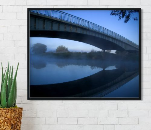 bridge in blue framed art print