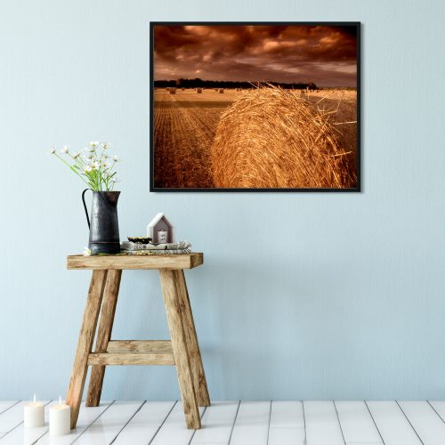 straw bale rural farming print