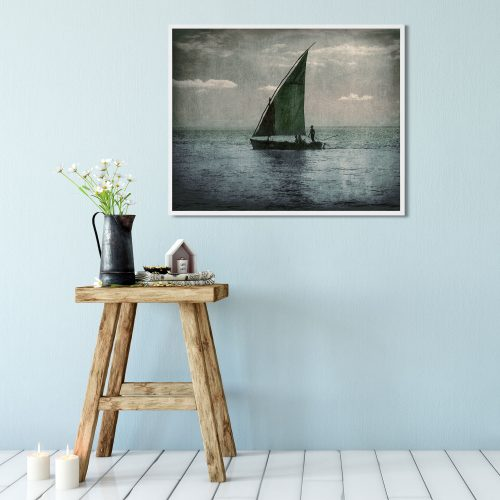 sailing at dusk twilight wall art